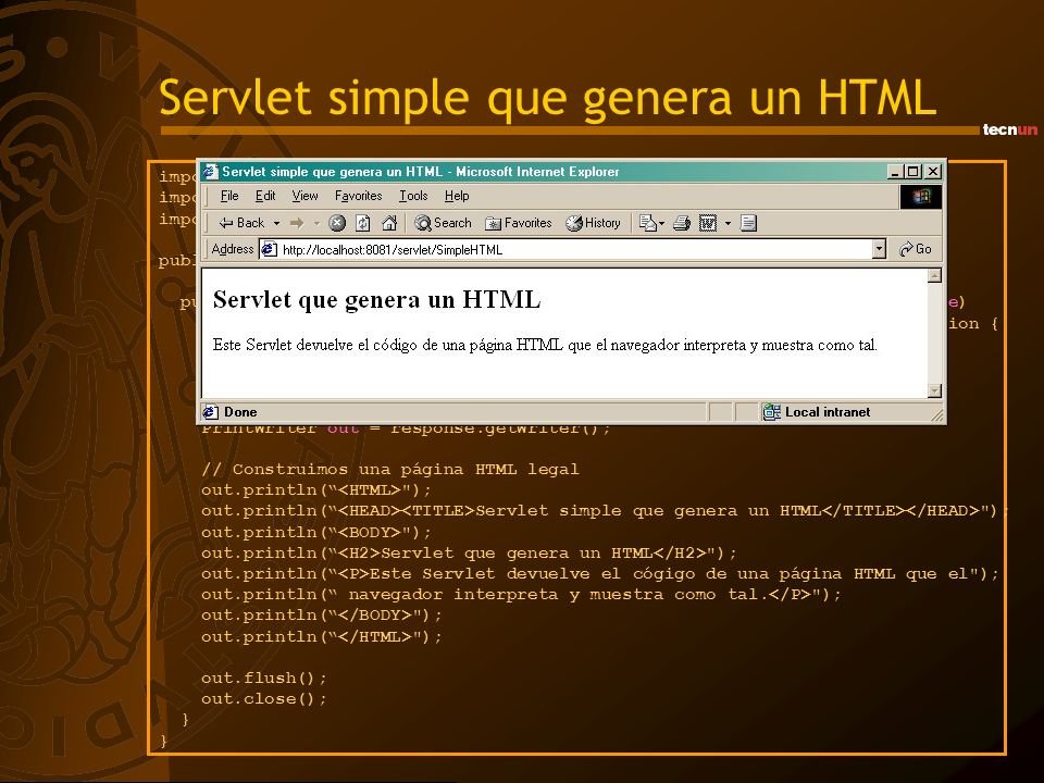 Servlet simple que genera un HTML