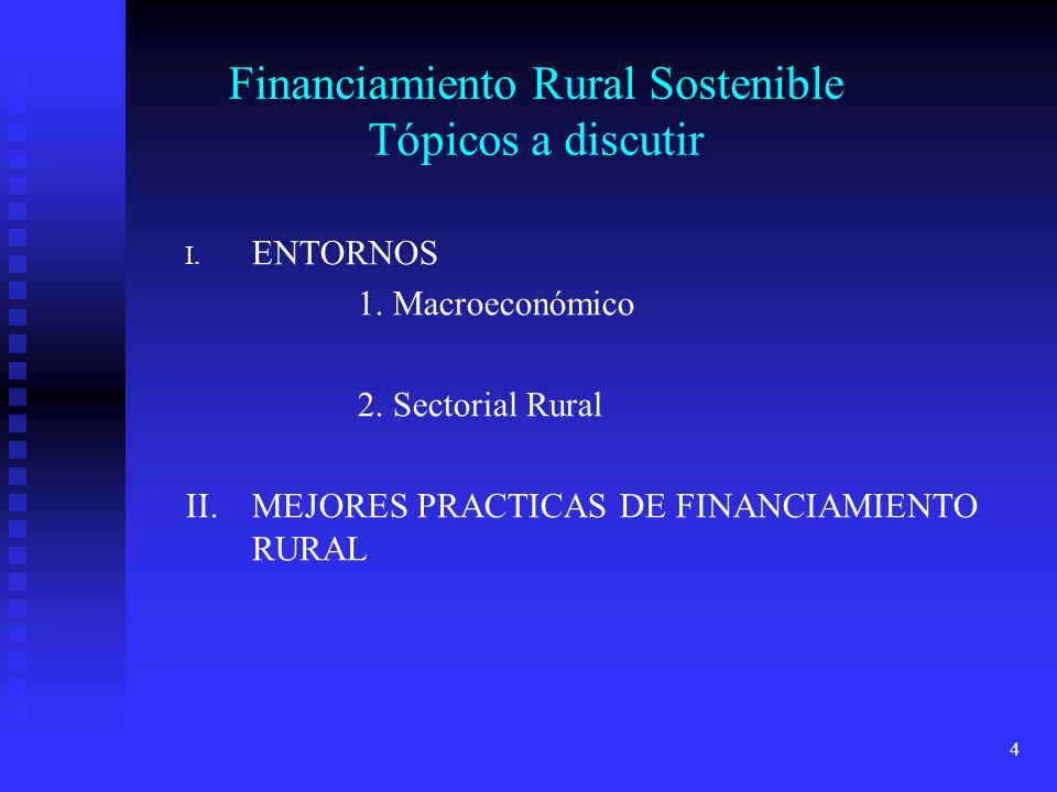 Financiamiento Rural Sostenible Tópicos a discutir