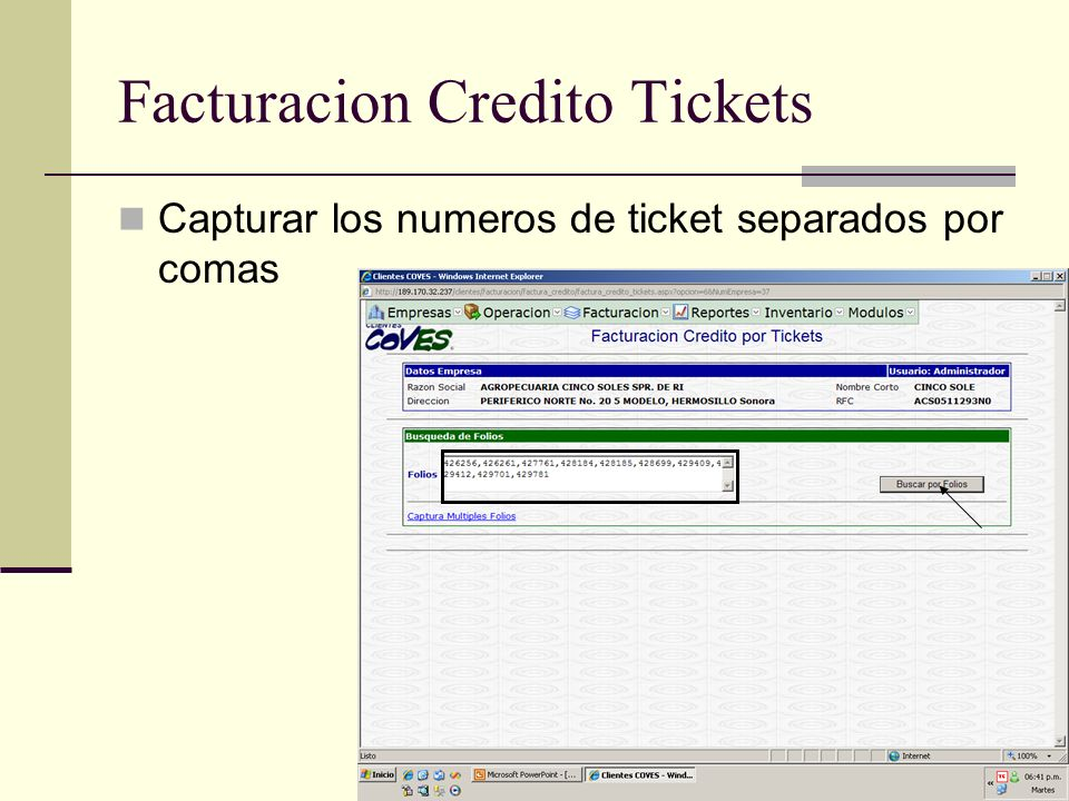 Facturacion Credito Tickets
