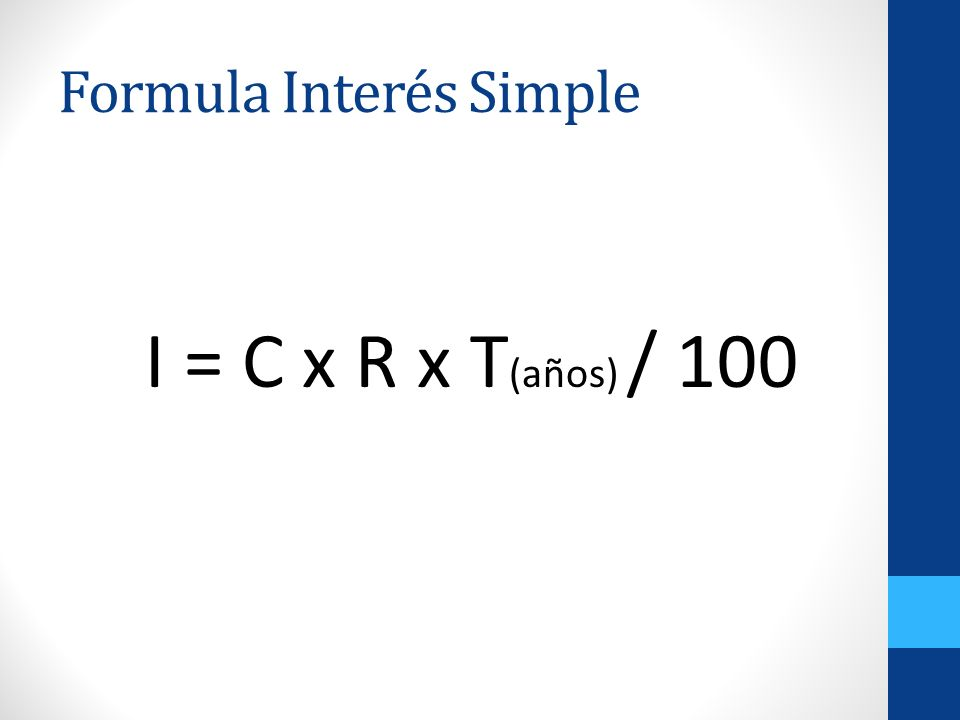 Formula Interés Simple