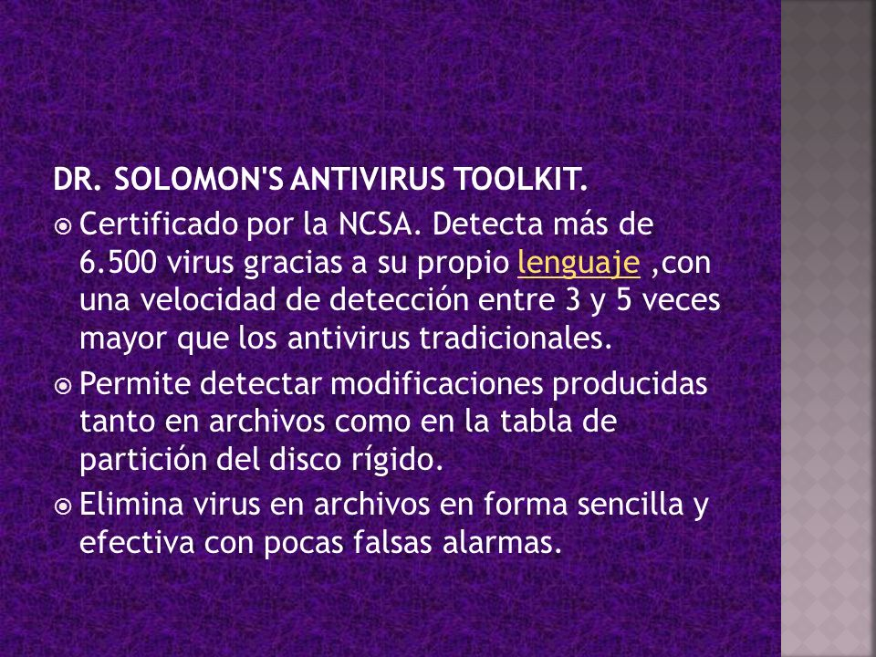 DR. SOLOMON S ANTIVIRUS TOOLKIT.