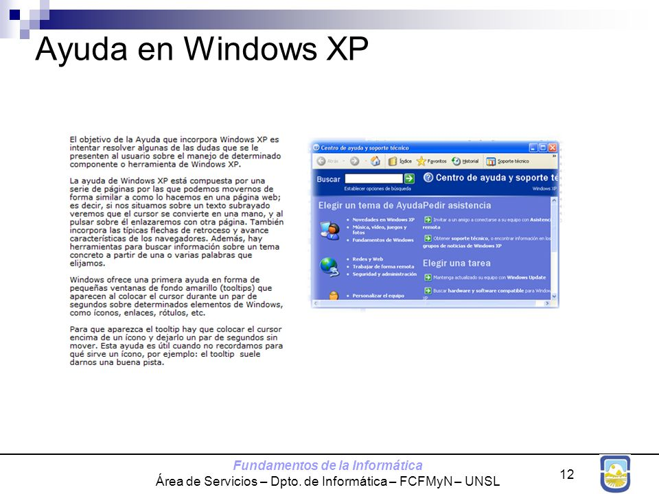Ayuda en Windows XP