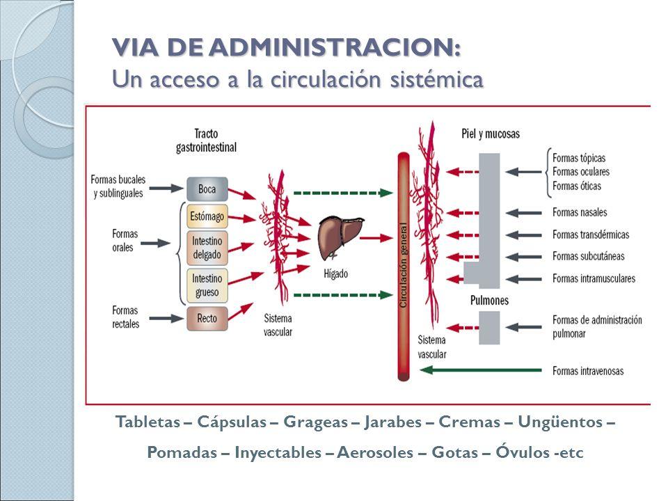 VIA DE ADMINISTRACION  Un acceso a la circulación sistémica a6668d7d6e41