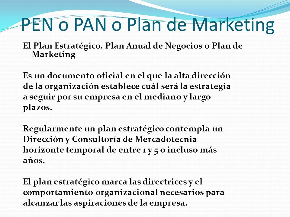 PEN o PAN o Plan de Marketing