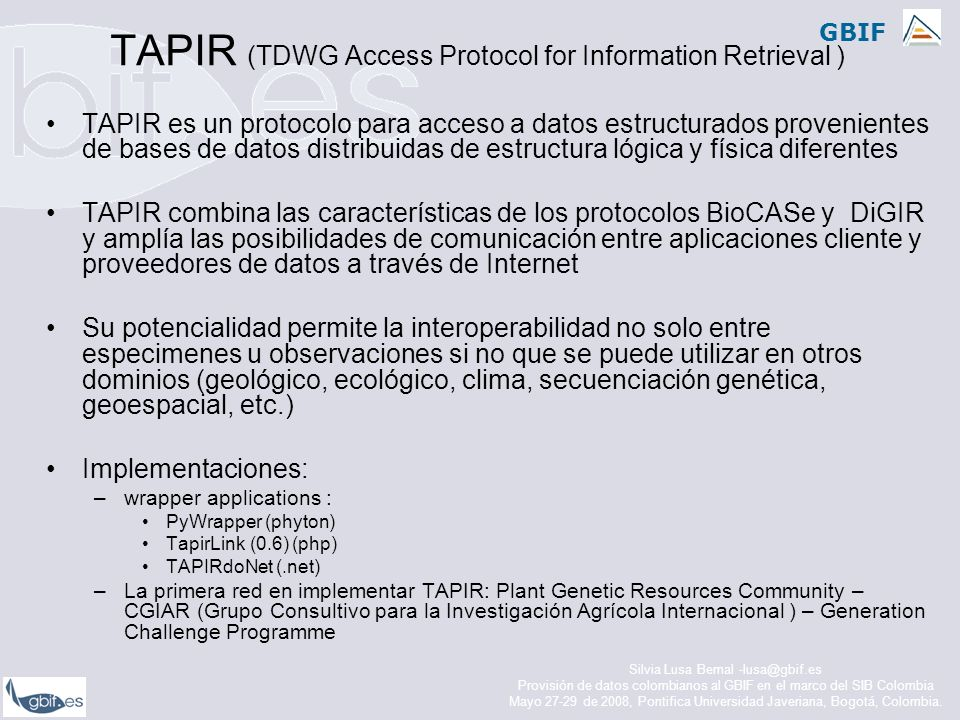 TAPIR (TDWG Access Protocol for Information Retrieval )