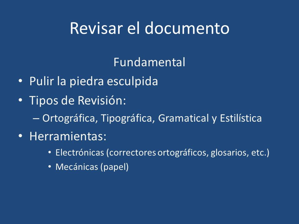 Revisar el documento Fundamental Pulir la piedra esculpida