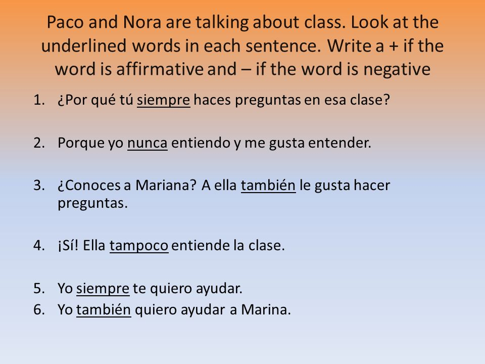 Paco and Nora are talking about class