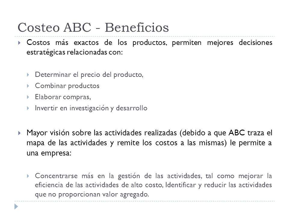 Costeo ABC - Beneficios