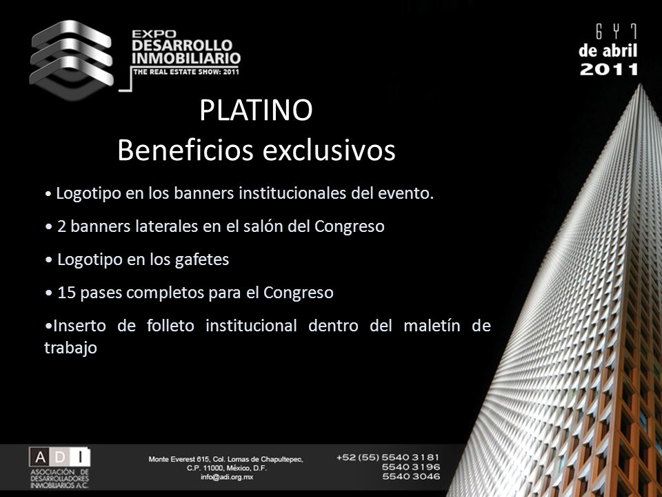 PLATINO Beneficios exclusivos