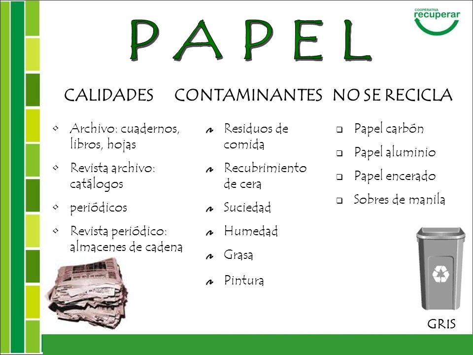 PAPEL CALIDADES CONTAMINANTES NO SE RECICLA