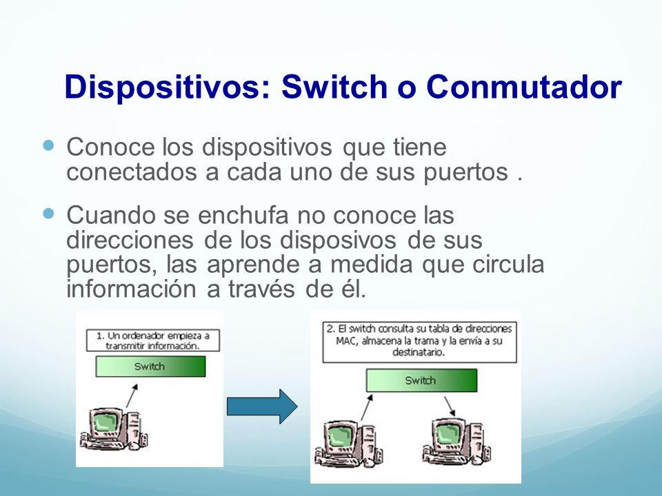 Dispositivos: Switch o Conmutador
