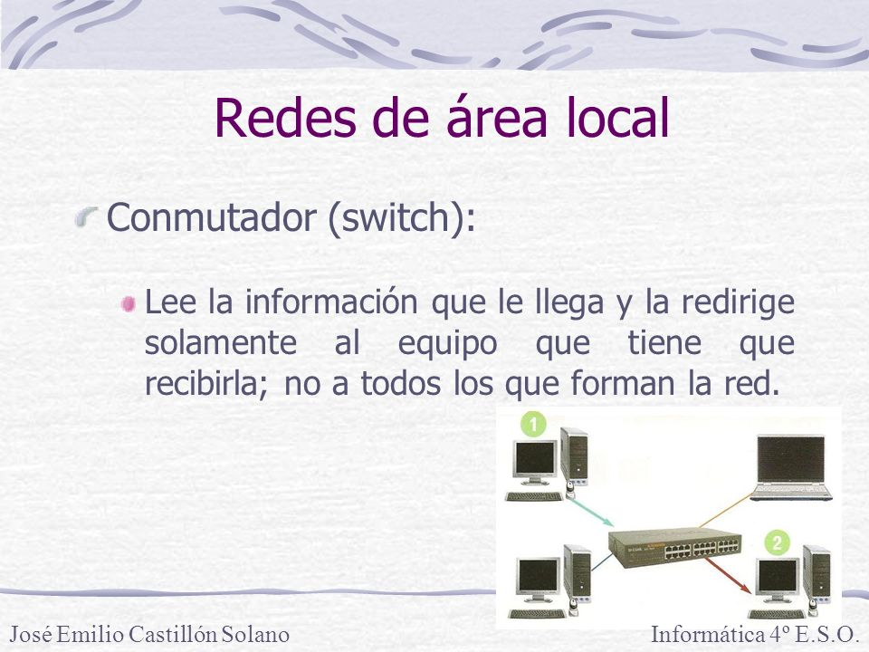 Redes de área local Conmutador (switch):
