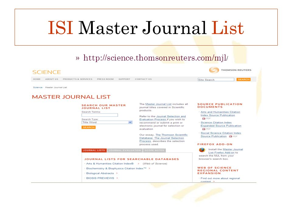ISI Master Journal List