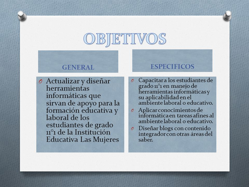 OBJETIVOS GENERAL. ESPECIFICOS.