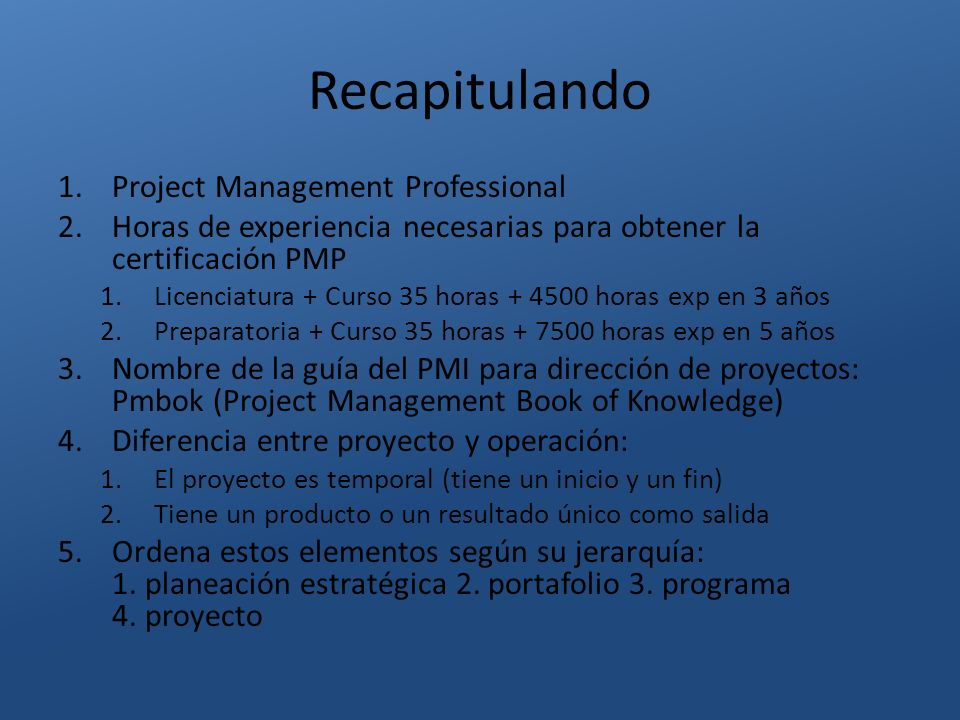 Recapitulando Project Management Professional