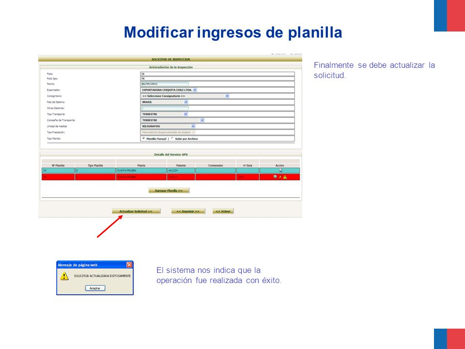 Modificar ingresos de planilla