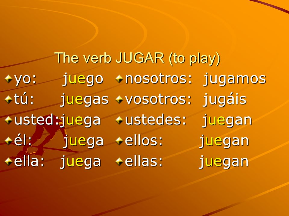 The verb JUGAR (to play)