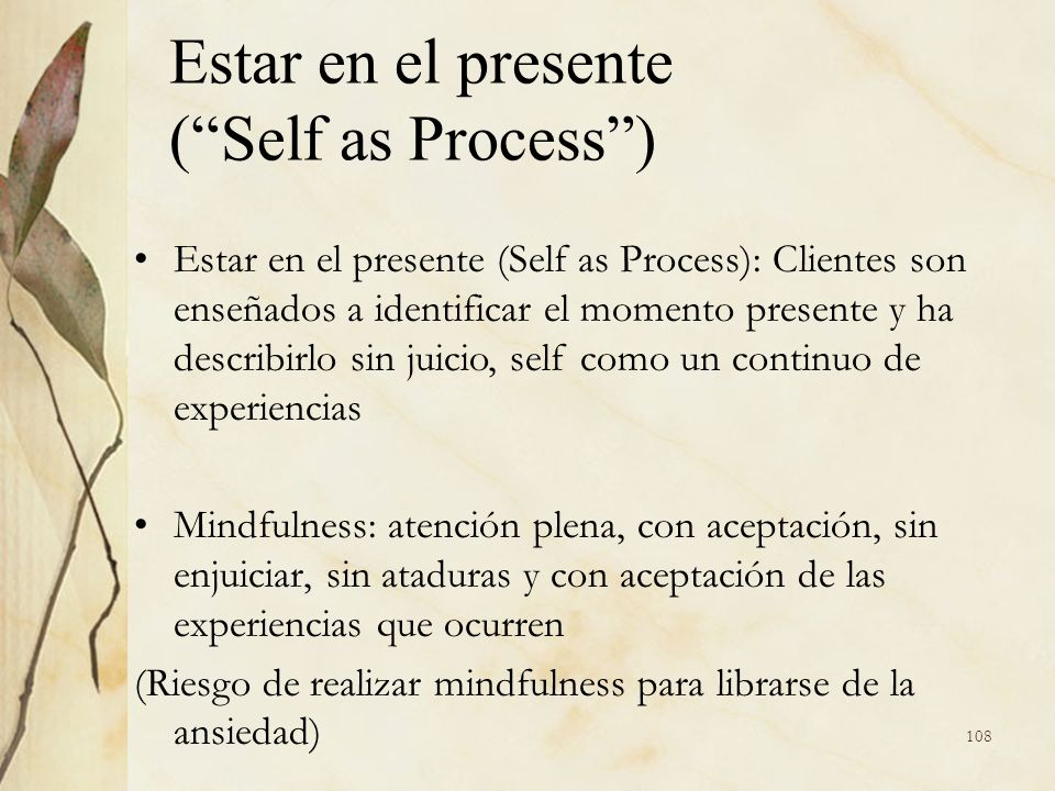 Estar en el presente ( Self as Process )