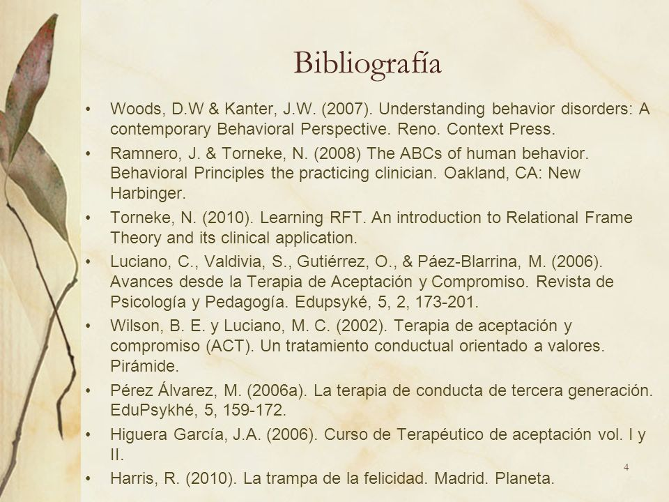 Bibliografía Woods, D.W & Kanter, J.W. (2007). Understanding behavior disorders: A contemporary Behavioral Perspective. Reno. Context Press.