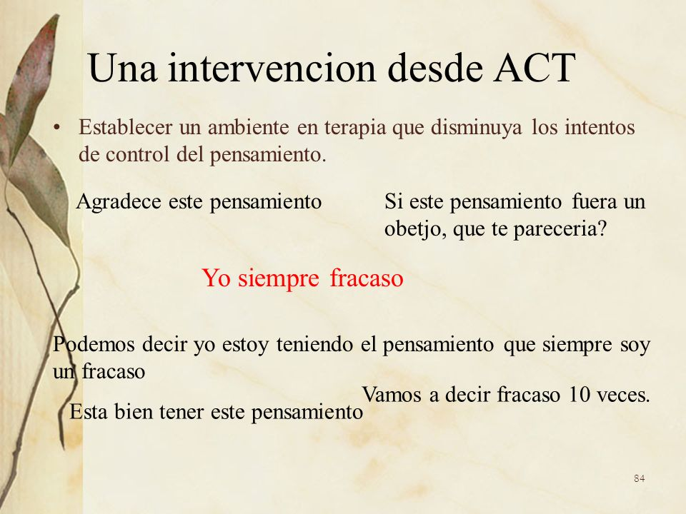 Una intervencion desde ACT