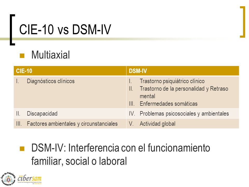 CIE-10 vs DSM-IV Multiaxial