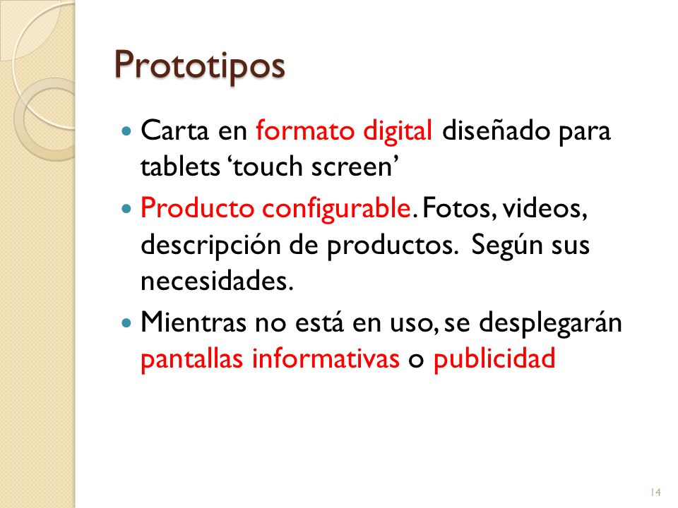 Prototipos Carta en formato digital diseñado para tablets 'touch screen'