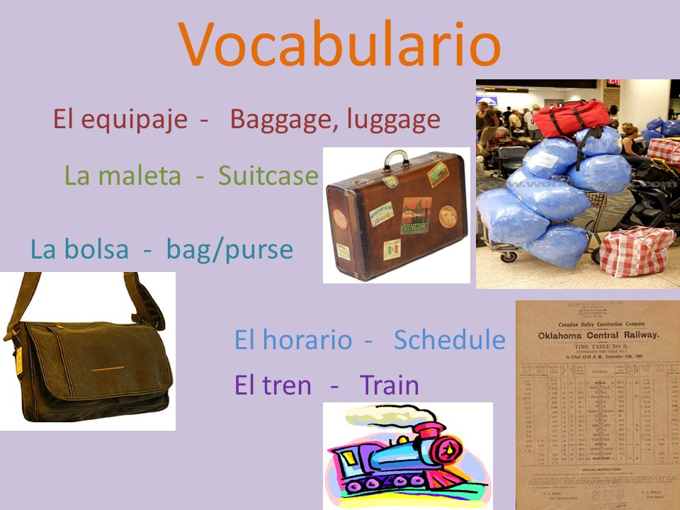 Vocabulario El equipaje - Baggage, luggage La maleta - Suitcase