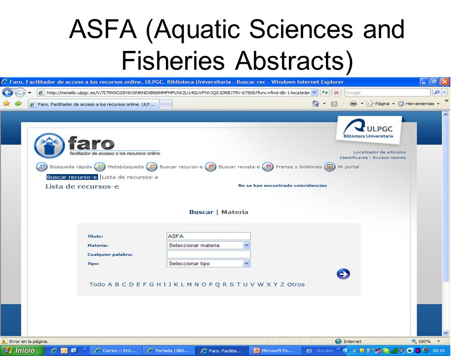 ASFA (Aquatic Sciences and Fisheries Abstracts)
