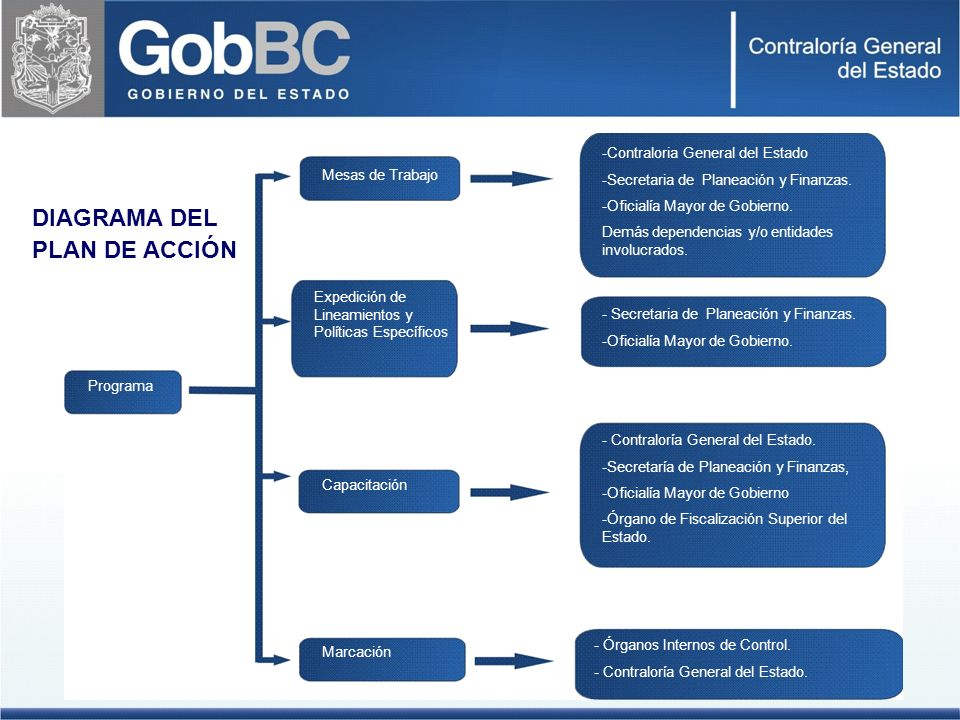 DIAGRAMA DEL PLAN DE ACCIÓN Contraloria General del Estado
