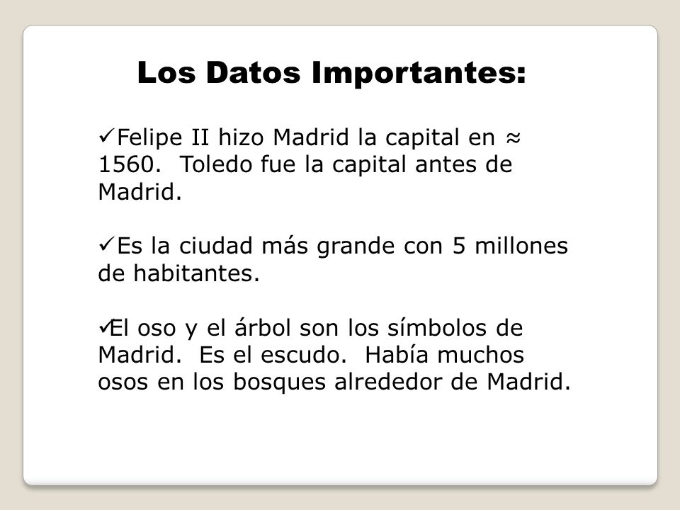 Los Datos Importantes: