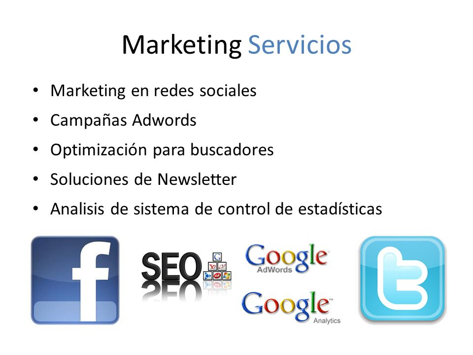 Marketing Servicios Marketing en redes sociales Campañas Adwords
