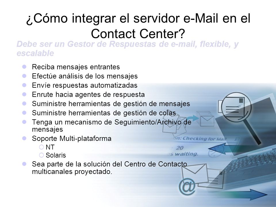 ¿Cómo integrar el servidor e-Mail en el Contact Center