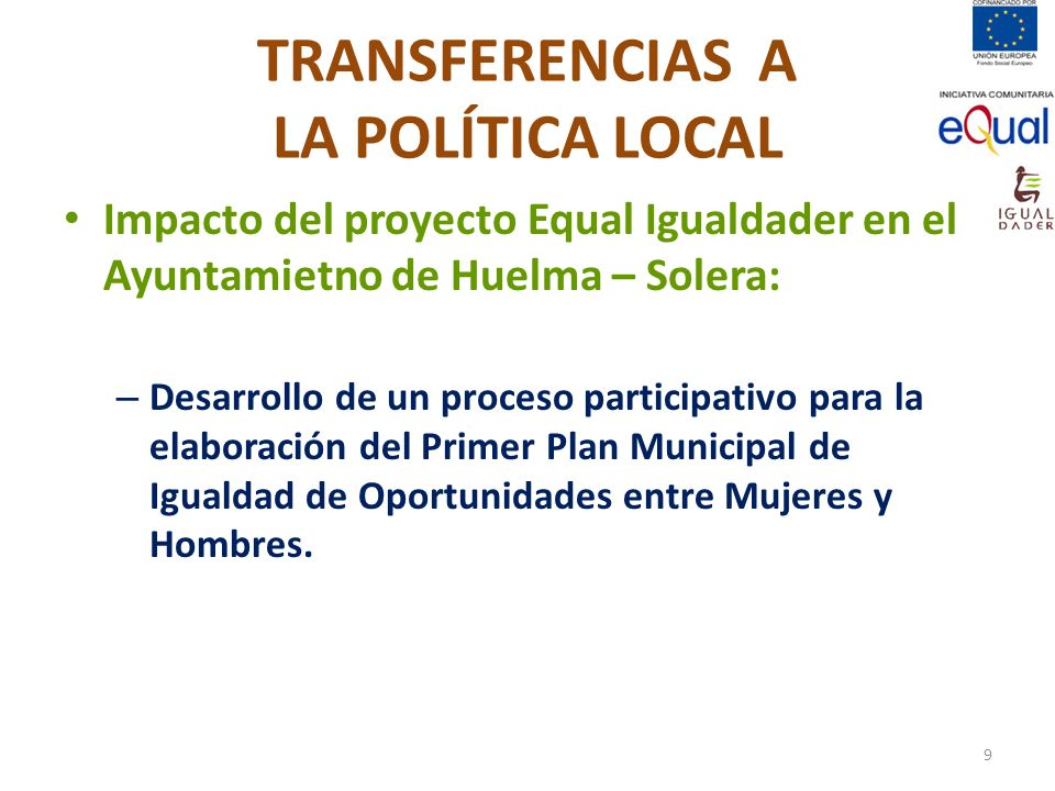 TRANSFERENCIAS A LA POLÍTICA LOCAL