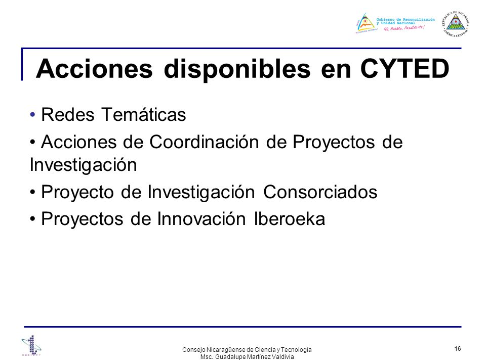 Acciones disponibles en CYTED