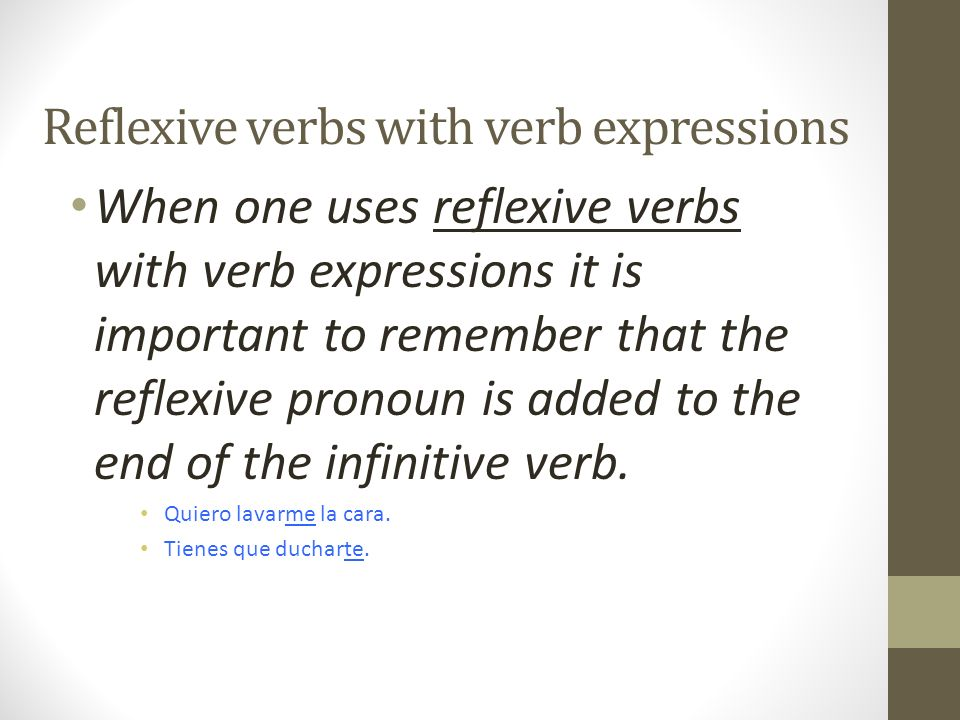 Reflexive verbs with verb expressions