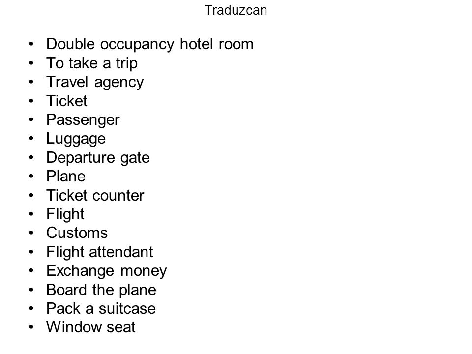 Double occupancy hotel room To take a trip Travel agency Ticket