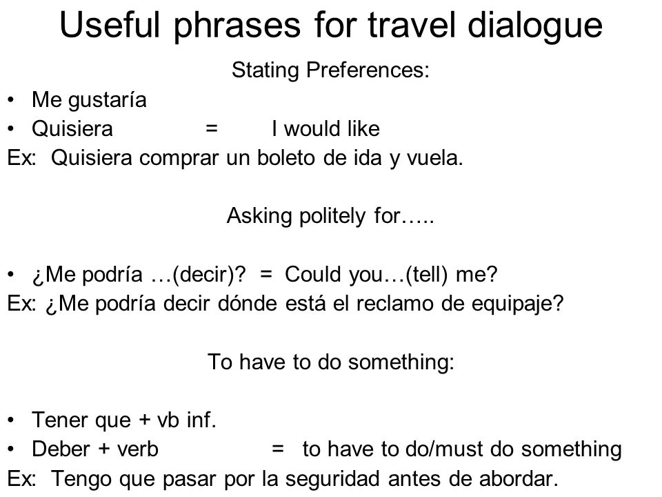 Useful phrases for travel dialogue