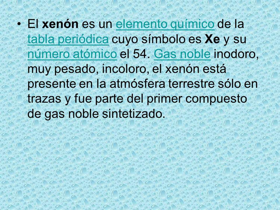 el xenn es un elemento qumico de la tabla peridica cuyo smbolo es xe y su