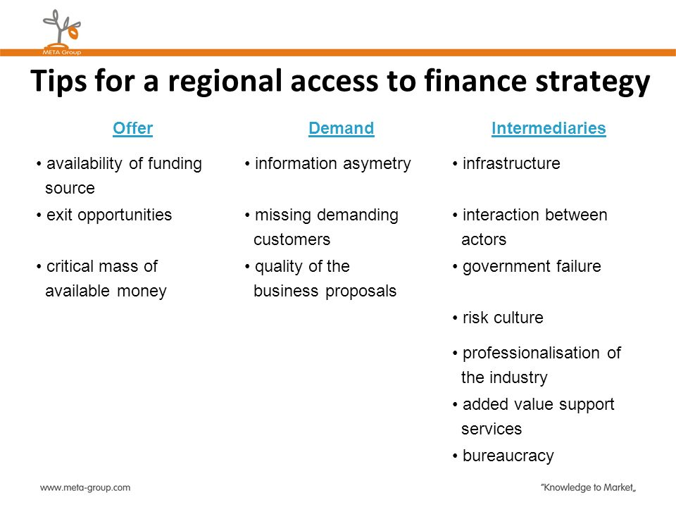 Tips for a regional access to finance strategy
