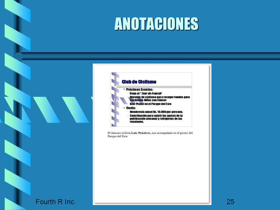 ANOTACIONES Fourth R Inc.