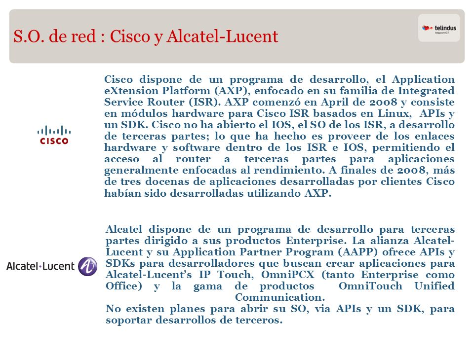 S.O. de red : Cisco y Alcatel-Lucent