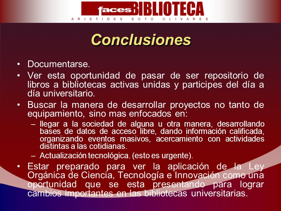 Conclusiones Documentarse.