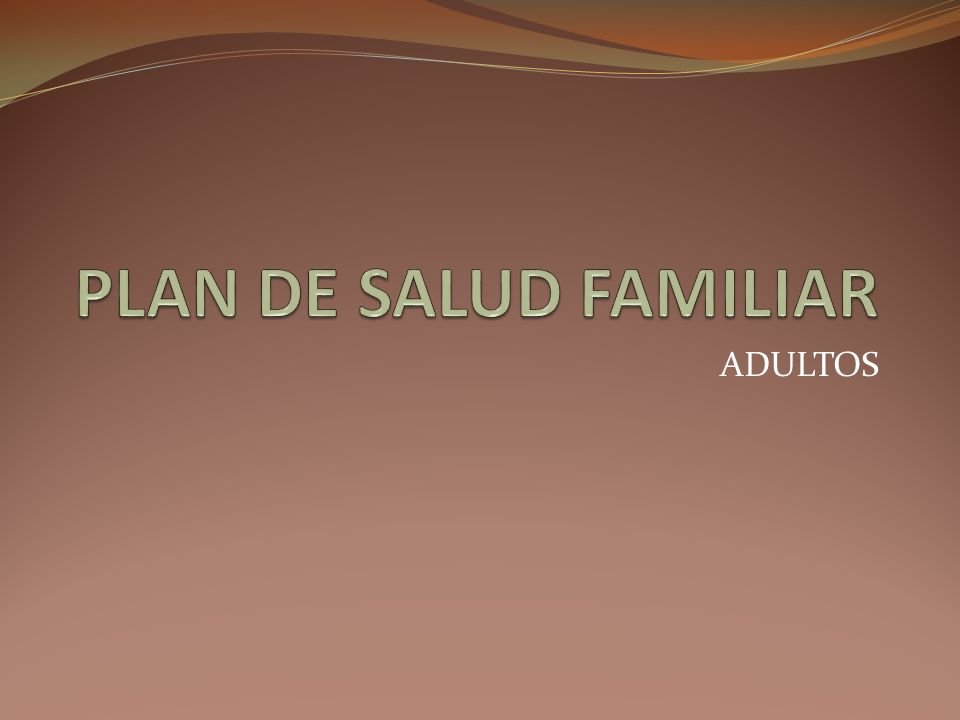 PLAN DE SALUD FAMILIAR ADULTOS