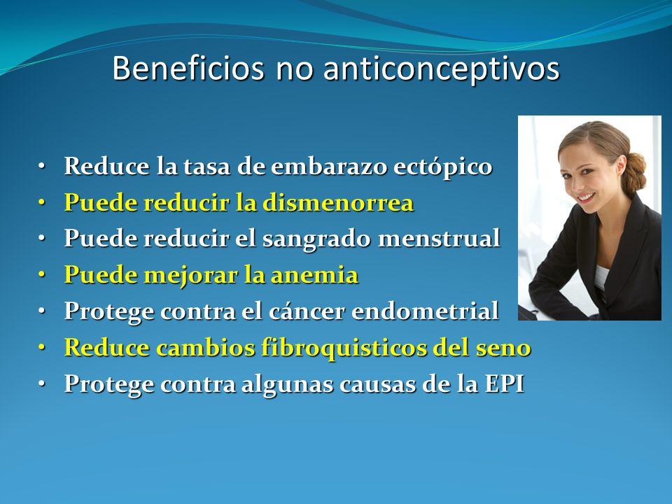 Beneficios no anticonceptivos