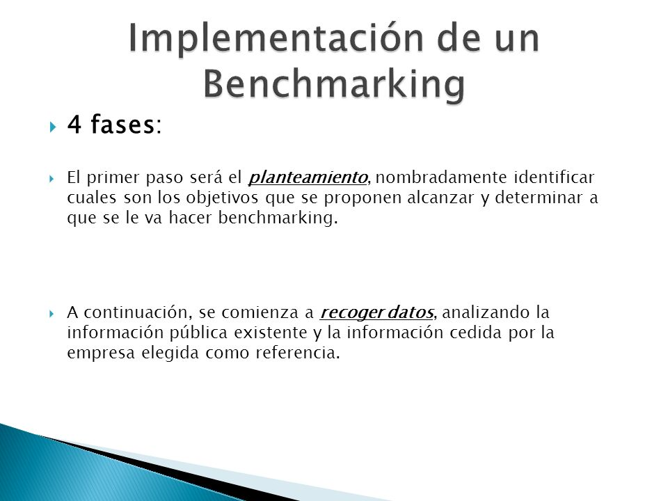 Implementación de un Benchmarking