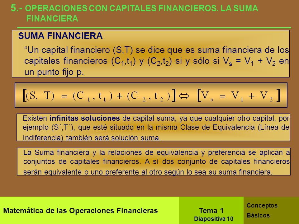 5.- OPERACIONES CON CAPITALES FINANCIEROS. LA SUMA FINANCIERA