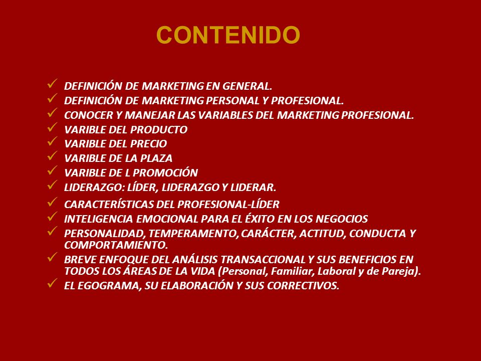 CONTENIDO DEFINICIÓN DE MARKETING EN GENERAL.