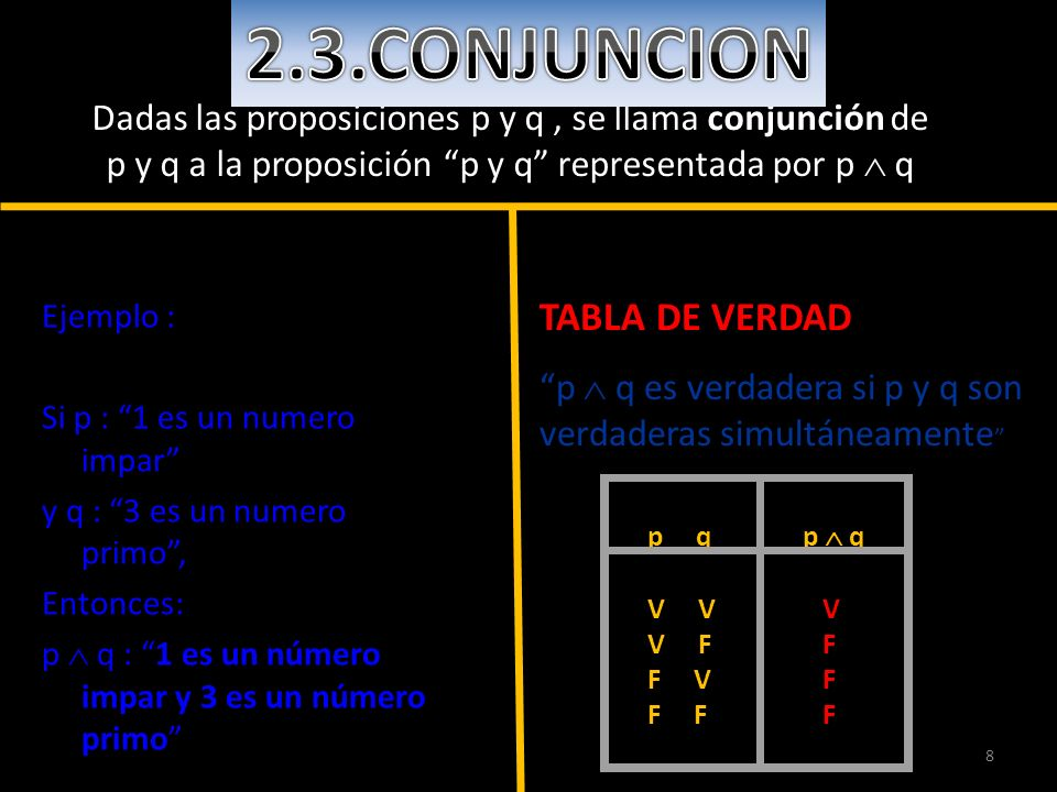 2.3.CONJUNCION TABLA DE VERDAD