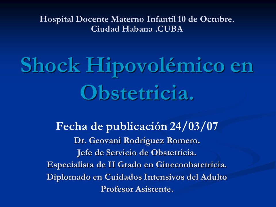 SHOCK HIPOVOLEMICO EN OBSTETRICIA PDF DOWNLOAD