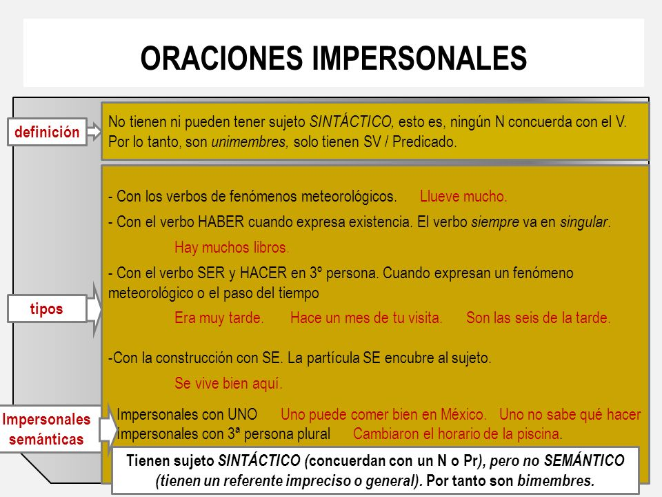 ORACIONES IMPERSONALES Impersonales semánticas